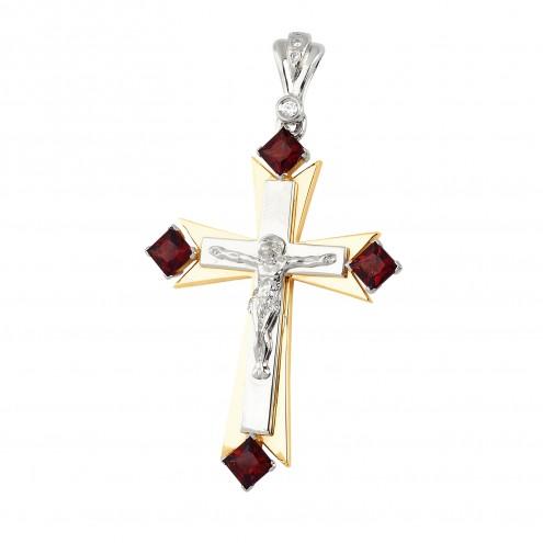 Хрест з діамантами та кольоровим камінням 889-0565