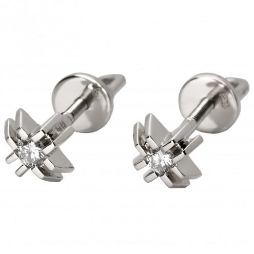 Сережки з 1 діамантом 922-0742