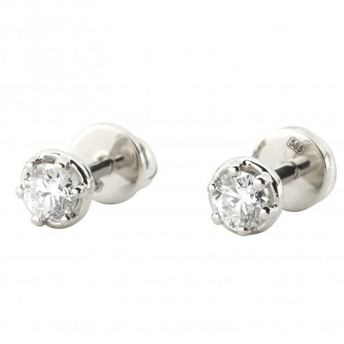 Сережки з 1 діамантом 922-1220