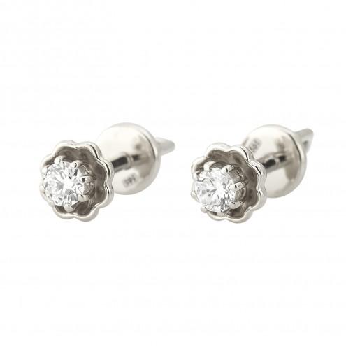 Сережки з 1 діамантом 922-1290