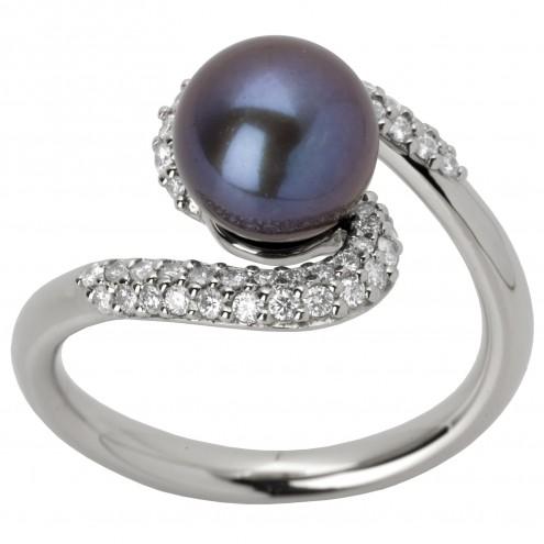Каблучка з перлиною та діамантами 961-1236