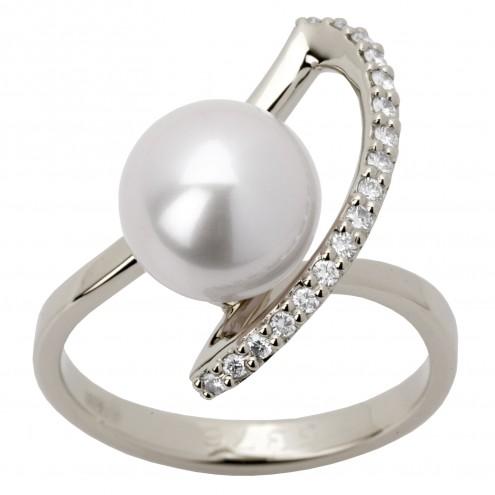 Каблучка з перлиною та діамантами 961-1239