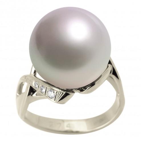 Каблучка з перлиною та діамантами 961-1308