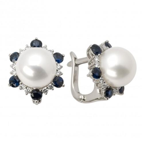 Сережки з перлиною та діамантами 962-0747