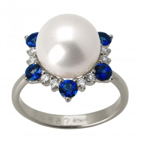Каблучка з перлиною та діамантами 971-1479