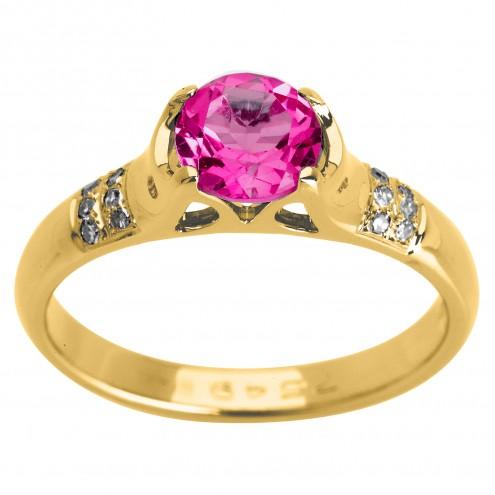 Каблучка з діамантами та кольоровим камінням 081-0965