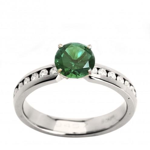 Каблучка з діамантами та кольоровим камінням 981-0975