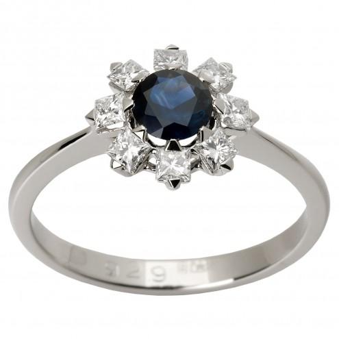 Каблучка з діамантами та кольоровим камінням 981-1337