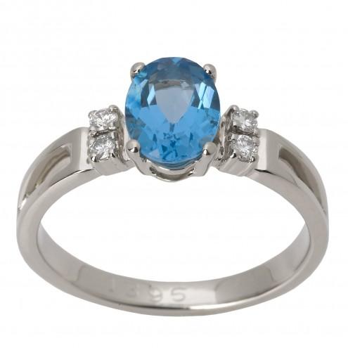 Каблучка з діамантами та кольоровим камінням 981-1377