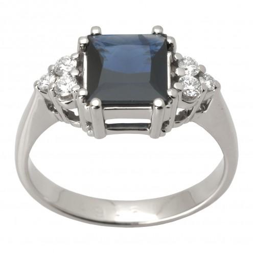 Каблучка з діамантами та кольоровим камінням 981-1418