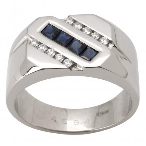 Перстень з діамантами та кольоровим камінням 981-1450