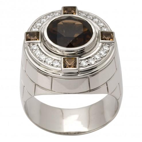 Перстень з діамантами та кольоровим камінням 981-1480
