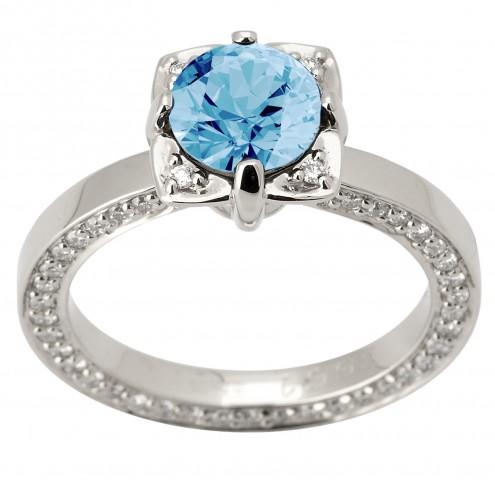 Каблучка з діамантами та кольоровим камінням 981-1582