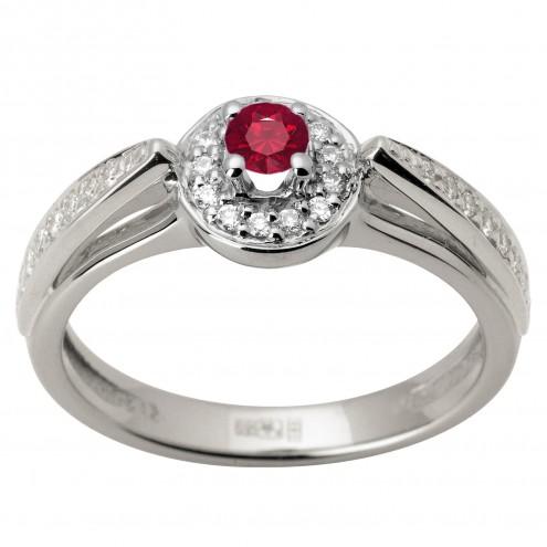 Каблучка з діамантами та кольоровим камінням 981-1638