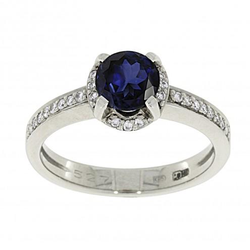 Каблучка з діамантами та кольоровим камінням 981-1649