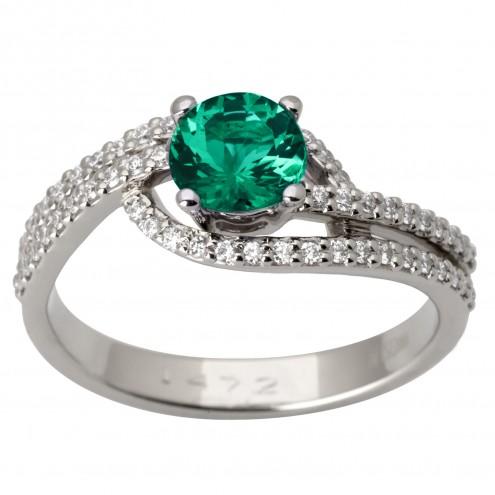 Каблучка з діамантами та кольоровим камінням 981-1680