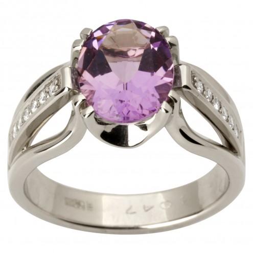 Каблучка з діамантами та кольоровим камінням 981-1728
