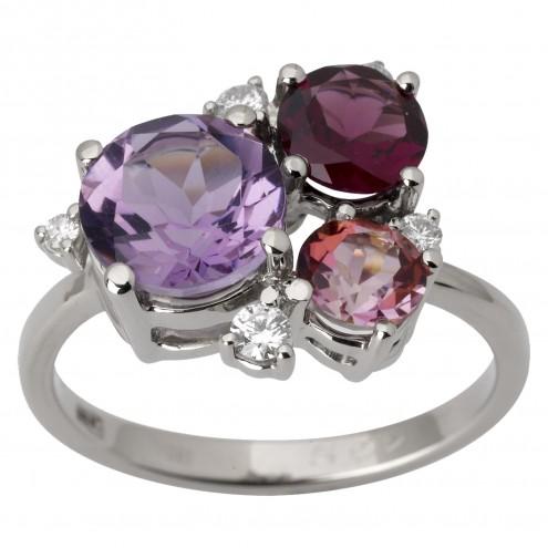 Каблучка з діамантами та кольоровим камінням 981-1772