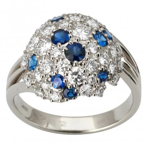 Каблучка з діамантами та кольоровим камінням 981-1782