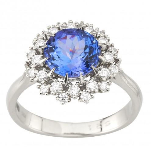 Каблучка з діамантами та кольоровим камінням 981-1815