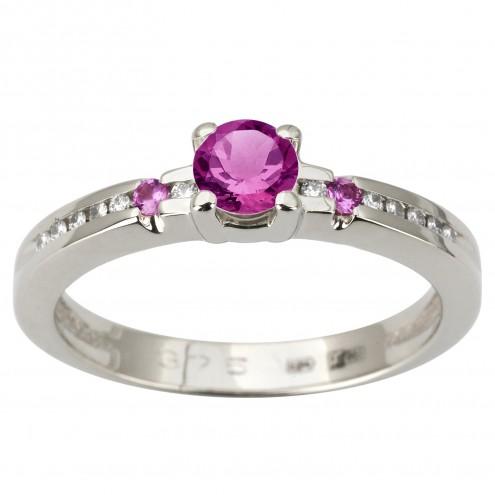 Каблучка з діамантами та кольоровим камінням 981-1861
