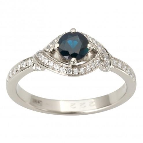 Каблучка з діамантами та кольоровим камінням 981-1865