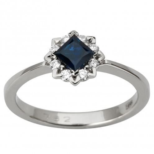 Каблучка з діамантами та кольоровим камінням 981-1931