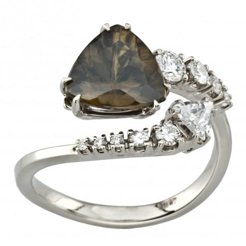 Каблучка з діамантами та кольоровим камінням 981-1947
