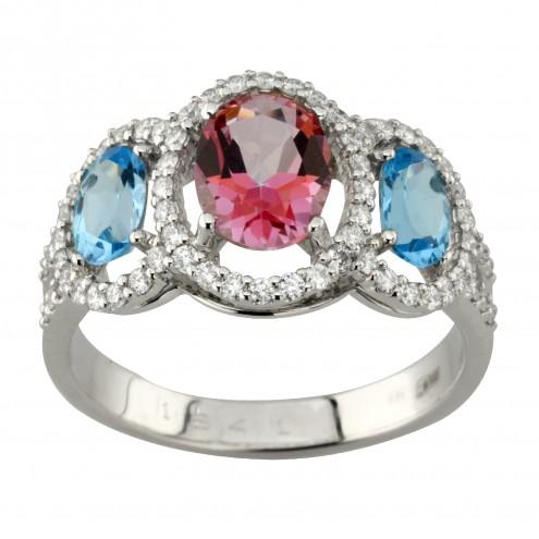 Каблучка з діамантами та кольоровим камінням 981-1994