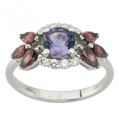 Каблучка з діамантами та кольоровим камінням 981-1997