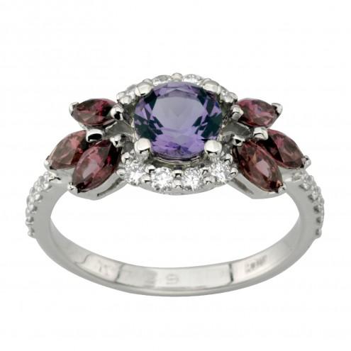 Каблучка з діамантами та кольоровим камінням 981-1998