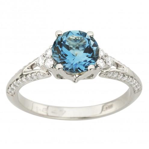 Каблучка з діамантами та кольоровим камінням 981-2030
