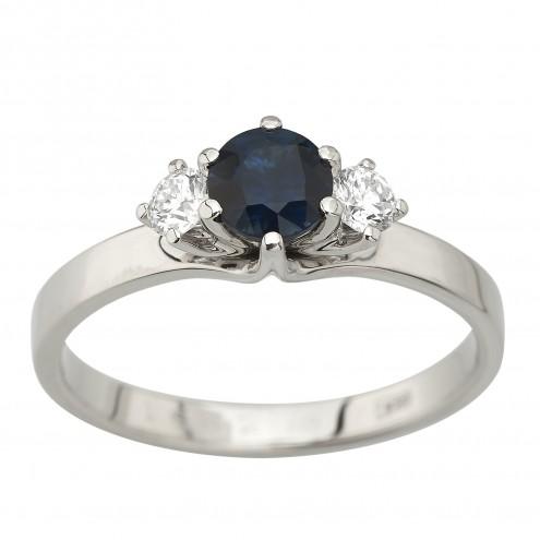 Каблучка з діамантами та кольоровим камінням 981-2033