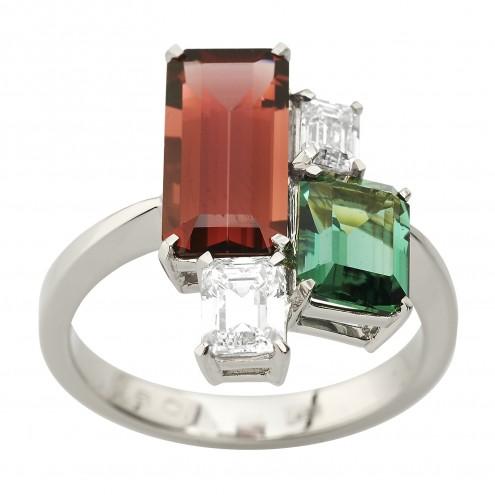 Каблучка з діамантами та кольоровим камінням 981-2089