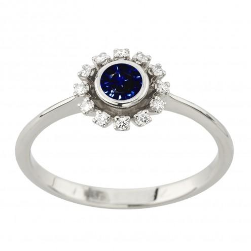 Каблучка з діамантами та кольоровим камінням 981-2207
