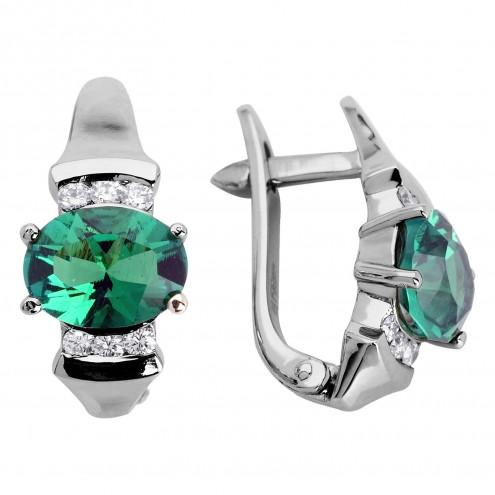 Сережки з діамантами та кольоровим камінням 982-0390