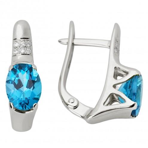 Сережки з діамантами та кольоровим камінням 982-0607