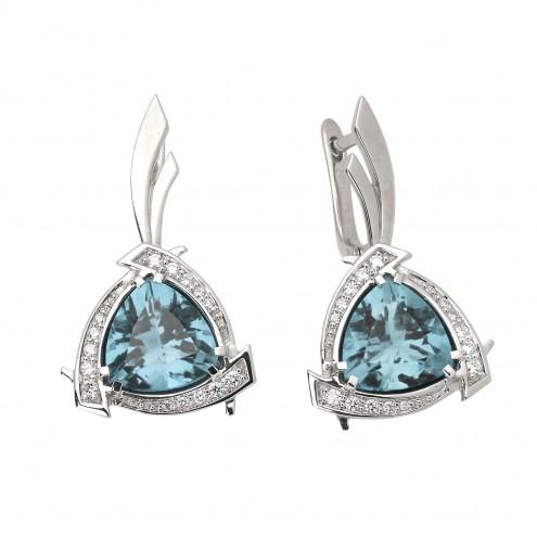 Сережки з діамантами та кольоровим камінням 982-0638