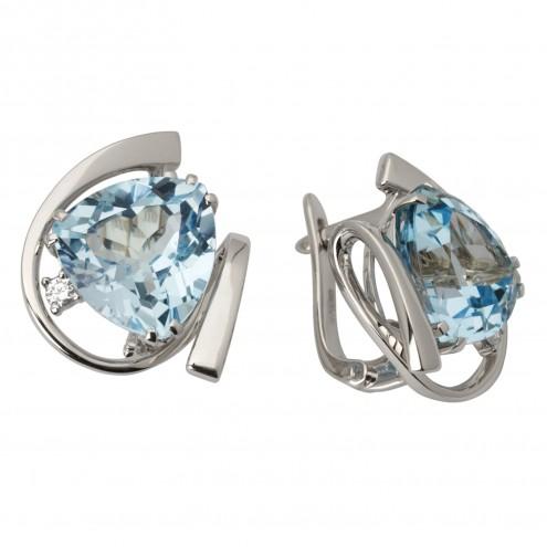 Сережки з діамантами та кольоровим камінням 982-0660