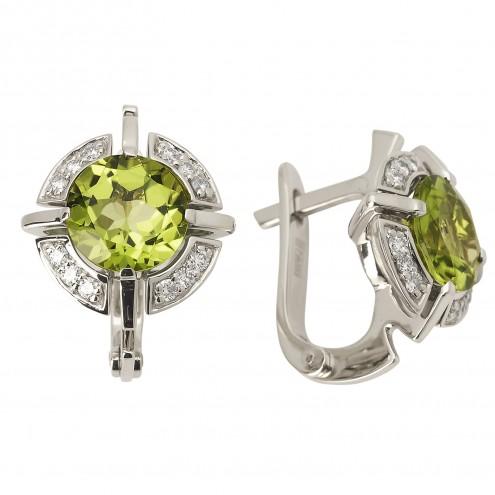 Сережки з діамантами та кольоровим камінням 982-0782