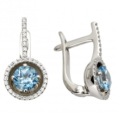 Сережки з діамантами та кольоровим камінням 982-0797