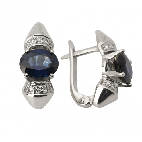 Сережки з діамантами та кольоровим камінням 982-0822