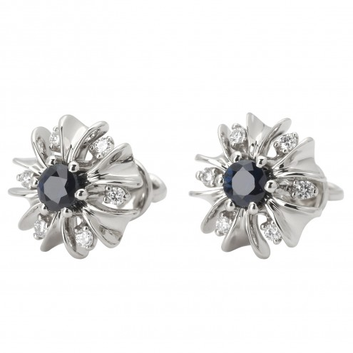 Сережки з діамантами та кольоровим камінням 982-0871