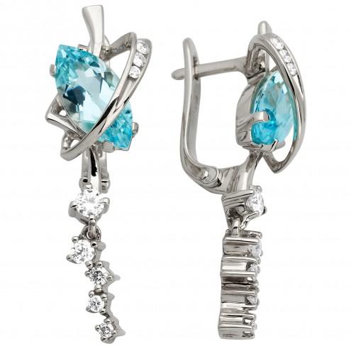 Сережки з діамантами та кольоровим камінням 982-0887