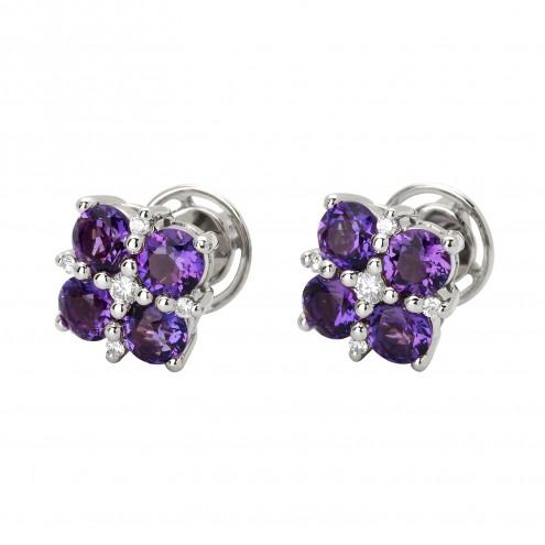 Сережки з діамантами та кольоровим камінням 982-0889