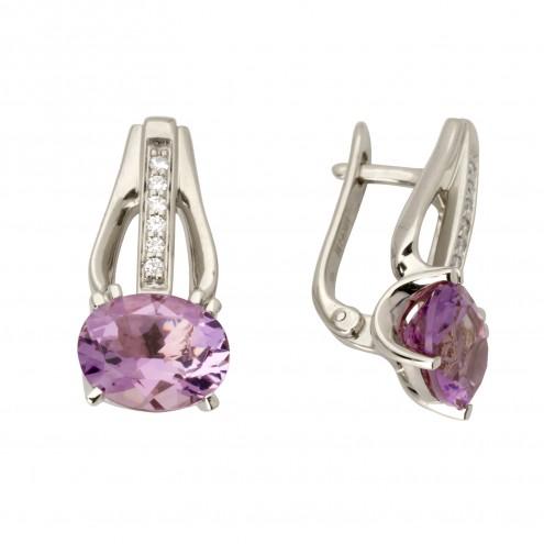 Сережки з діамантами та кольоровим камінням 982-0989