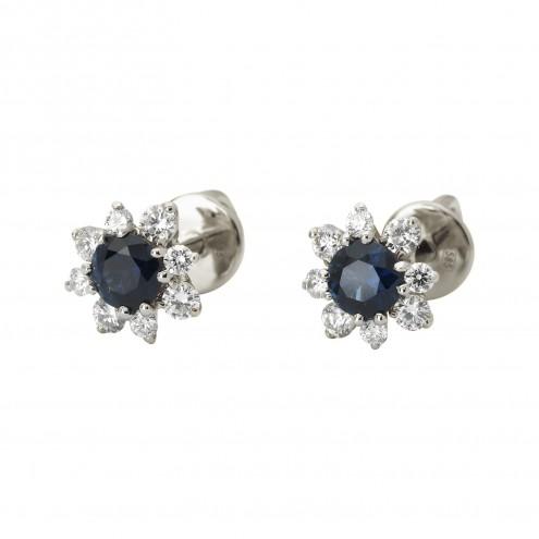 Сережки з діамантами та кольоровим камінням 982-1107