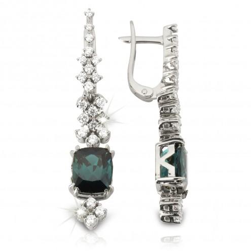 Сережки з діамантами та кольоровим камінням 982-1152