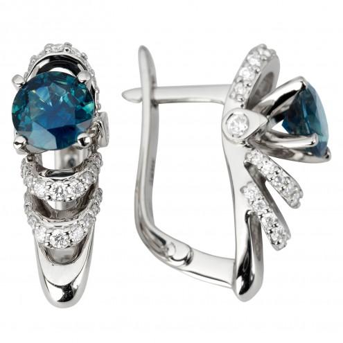Сережки з діамантами та кольоровим камінням 982-1184