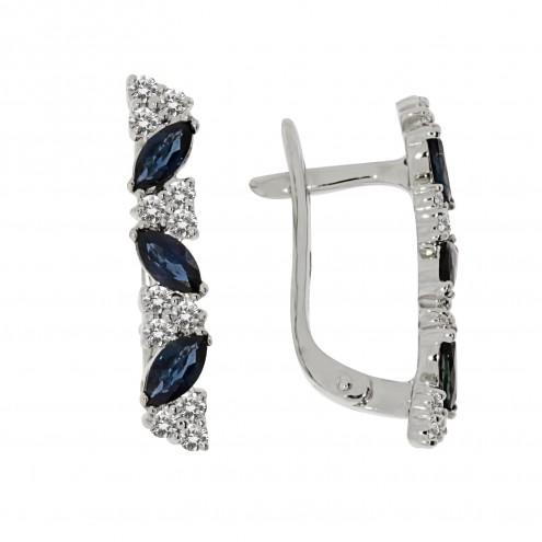 Сережки з діамантами та кольоровим камінням 982-1247